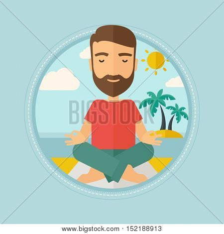 Caucasian hipster man with beard meditating in yoga lotus pose on the beach. Man relaxing on the beach in the yoga lotus position. Vector flat design illustration in the circle isolated on background.