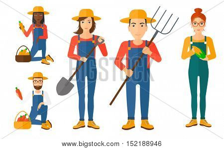 Set of farmers using agricultural tools. Farmer with shovel, pitchfork. Farmer working on agricultural field. Farmer harvesting corn cob and carrot. Vector illustration isolated on white background.