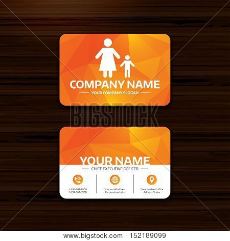 Business or visiting card template. One-parent family with one child sign icon. Mother with son symbol. Phone, globe and pointer icons. Vector