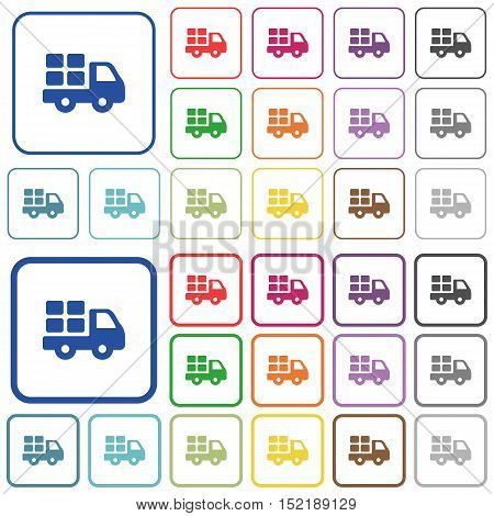 Set of transport flat rounded square framed color icons on white background. Thin and thick versions included.