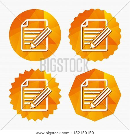 Edit document sign icon. Edit content button. Triangular low poly buttons with flat icon. Vector