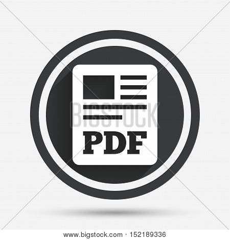 PDF file document icon. Download pdf button. PDF file symbol. Circle flat button with shadow and border. Vector