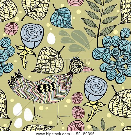 Colorful endless background with nature elements and doodle bird. Vector seamless pattern. Hand drawn illustration.