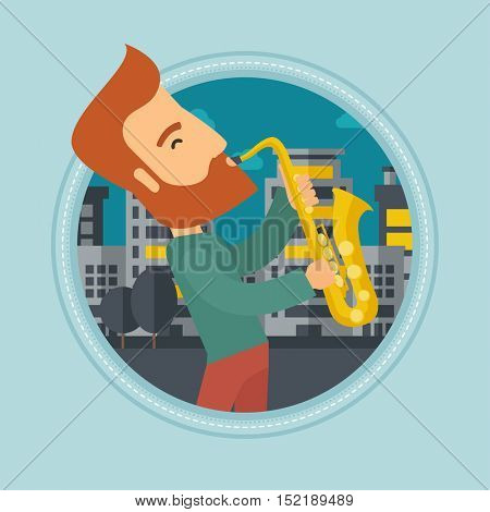 Caucasian hipster musician playing on saxophone. Man playing on saxophone in the night. Man with saxophone in the city street. Vector flat design illustration in the circle isolated on background.