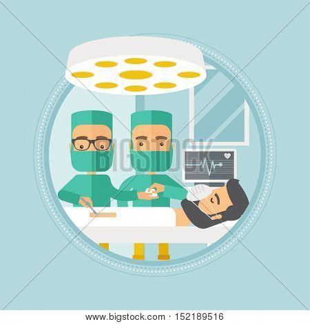 Medical team working in operation theater. Two caucasian surgeons performing operation in operating room. Surgeons doing operation. Vector flat design illustration in the circle isolated on background