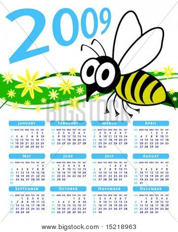 2009 shocked wasp or bee vector calendar.