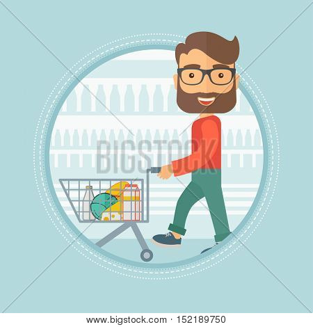 Caucasian hipster shopper walking with supermarket trolley with some goods in it at grocery store. Shopper shopping at supermarket. Vector flat design illustration in the circle isolated on background