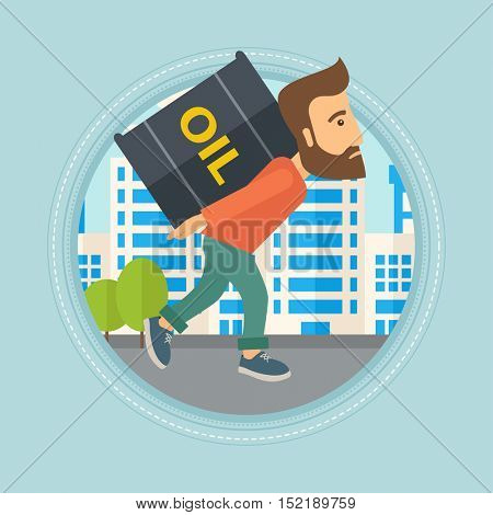Hipster man carrying an oil barrel on his back. Man with oil barrel walking on a city background. Man with oil barrel on his back. Vector flat design illustration in the circle isolated on background.