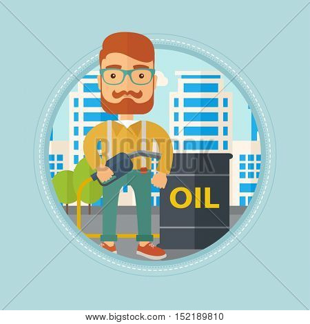 Hipster caucasian man standing near oil barrel. Oil worker holding gas pump nozzle on a city background. Oil industry concept. Vector flat design illustration in the circle isolated on background.