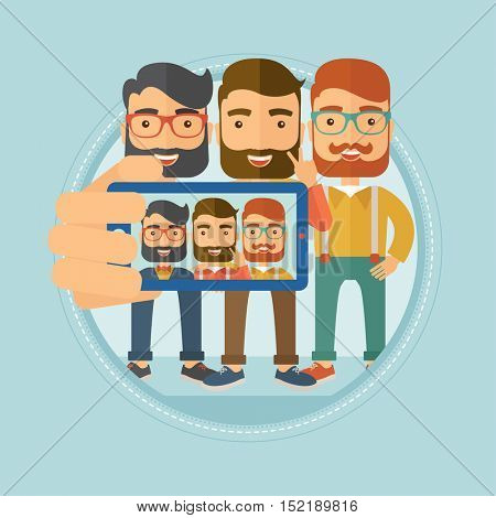 Three happy caucasian hipster men with the beards spending time together having fun and making a selfie photo using smart phone. Vector flat design illustration in the circle isolated on background.