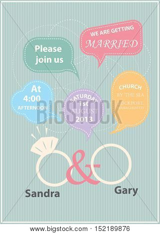 Wedding invitation card with speach bubbles. Vector illustration