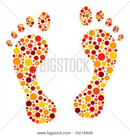 Colorful circular dot footprints vector.