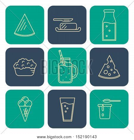 Dairy square icons set in line style design, vector illustration. Milk products symbols on color background. Traditional healthy products. Organic milk farming. Natural food