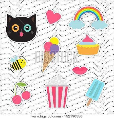 Quirky cartoon sticker patch badges set. Fashion pin collection. Cat heart rainbow cloud cupcake bee ice cream popcorn lips cherry White black wave dash line optical background. Flat Vector