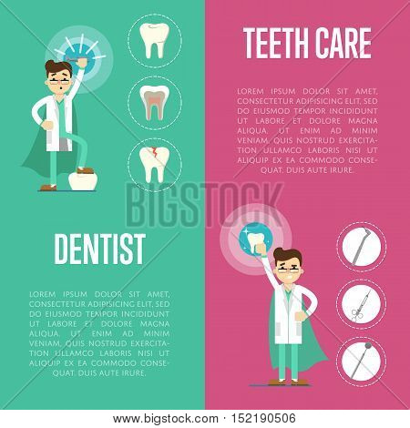 Dental care vertical banners with male dentist in medical uniform and superhero cape on color background with instrument and teeth icons, vector illustration. Oral hygiene, healthy clean teeth