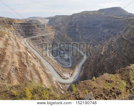 Quarry destroying the environment. Satka district Chelyabinsk region Russia
