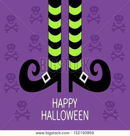 Witch legs with striped socks and shoes. Happy Halloween. Greeting card. Flat design. Violet skull crossbones background. Vector illustration
