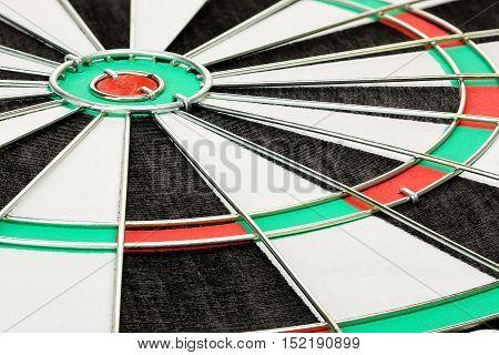 close up of classic dart board, angle view