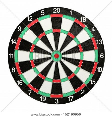 closeup of dart board isolated on white