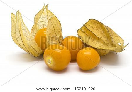 Several physalis fruits on white isolated background