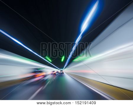 rear view tunnel traffic,china.