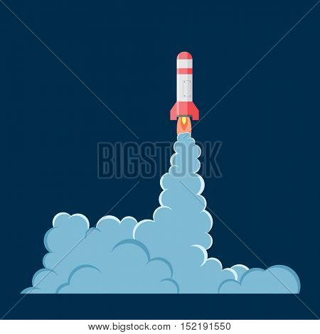 Cartoon vector rocket with smoke. Cartoon style. Effect boom, explode flash, bomb comic. Blast with fire and cloud. Illustration of burst isolated.