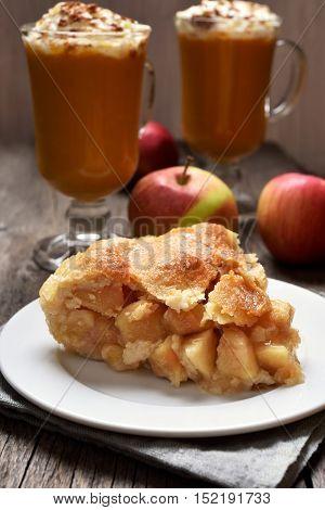 Piece of apple on plate fruit dessert