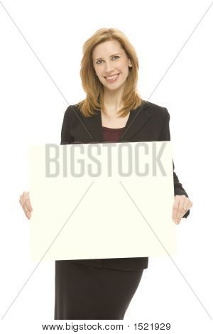 Businesswoman With Yellow Board