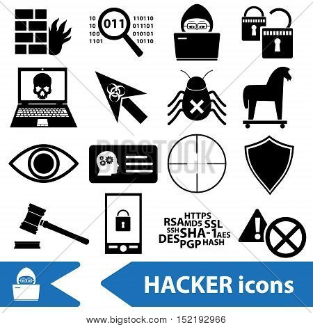 Hacker And Computer Security Theme Icons Set Eps10