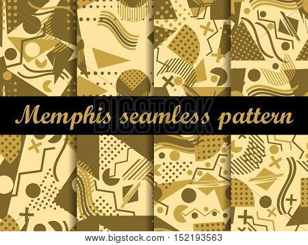 Memphis Seamless Pattern. Gold Color. Geometric Elements Memphis In The Style Of 80's. Vector Illust