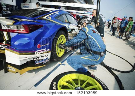 BURIRAM THAILAND - October 9: Super GT Series 2016 round 7 in Thailand at Chang International Circuit in Buriram United on October 7-9 2016 at the Buriram Thailand