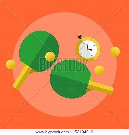 Table tennis ping pong banner, vector illustration in flat style. Two green paddles, stopwatch and yellow balls on orange background. Sports equipment
