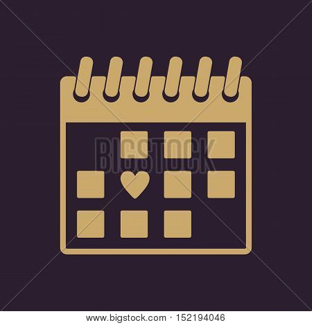 The calendar icon. Valentines day symbol. Flat Vector illustration.