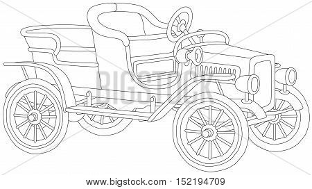Black and white vector illustration of an antique cabriolet