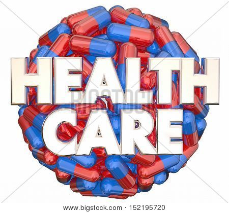 Health Care Medical System Preventative Medicine Pills Sphere 3d Illustration