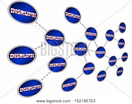 Disrupt Chain Reaction Change Innovate Evolve 3d Illustration