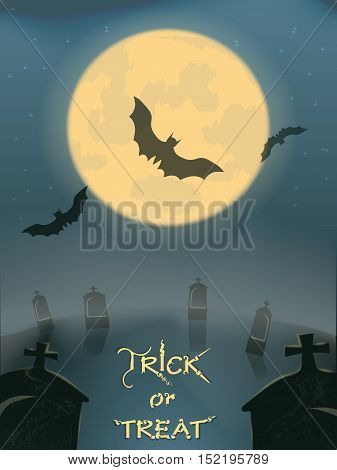 Halloween party.a graveyard covered with fog. bats on the moon. nightmare and two graves close-up. vector illustration. old poster