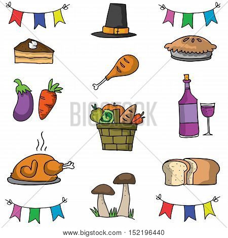 Doodle of thanksgiving object set vector art