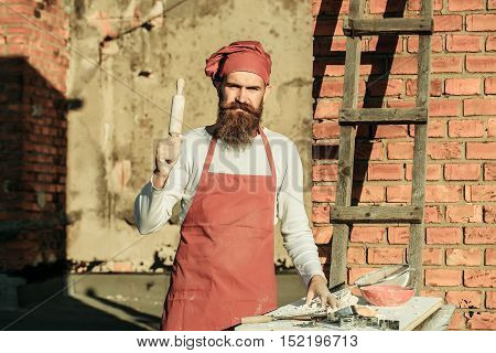 Man Cook Holding Rolling Pin