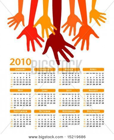 2010 Giving hands vector calendar.