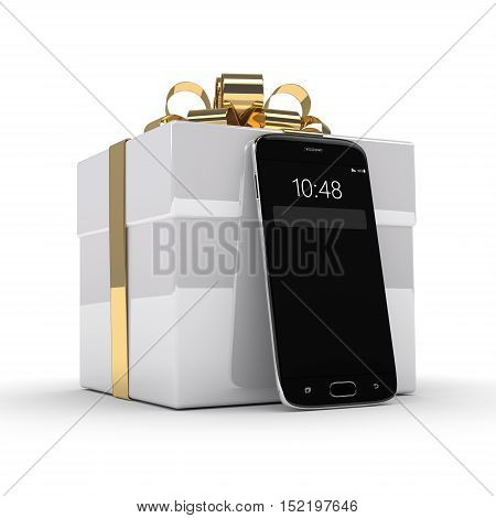 3D Rendering Of Smartphone With Gift Box Isolated Over White