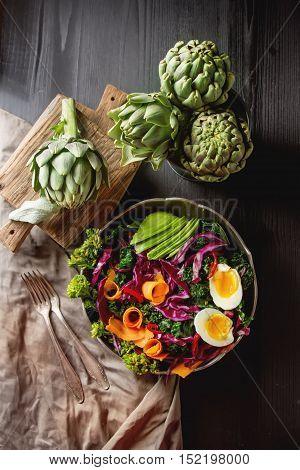 Fresh Vegetarian Salad With Cabbage Kale Broccoli Carrot Egg Avo