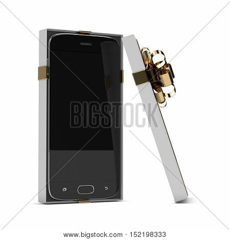 3D Rendering Of Smartphone In Gift Box Isolated Over White