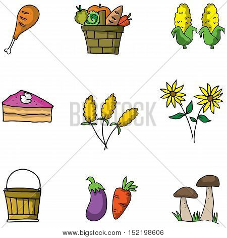 Doodle of thanksgiving objects vector art illustration