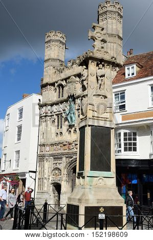 Canterbury United Kingdom - September 30 2016: War Memorial and Entrance to Canterbury Cathedral at Buttermarket Kent