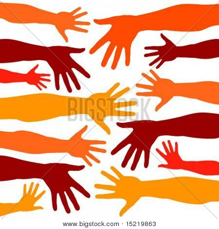 Random colorful hands vector pattern.