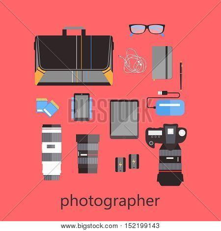Set of photographer's equipment: camera, lenses, memory cards, battery, notebook, tablet smartphone Vector icon