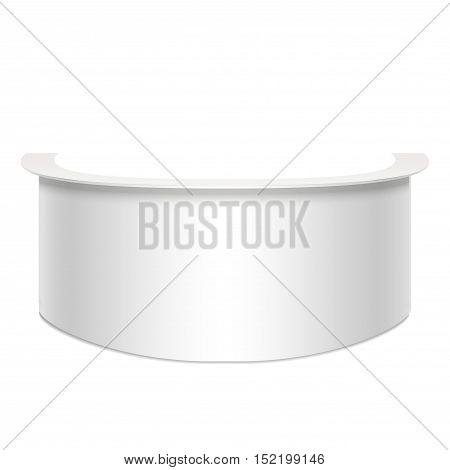 Template White Blank Reception or Trade Stand for Office, Hotel, Business. Empty Mock Up. Vector illustration