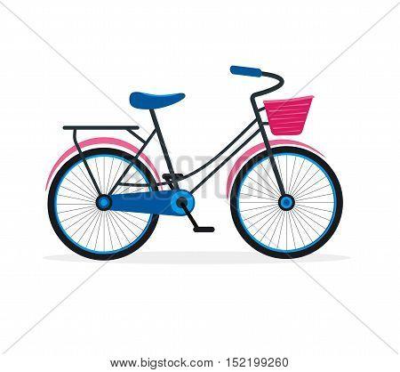 Street Bike Flat Design Style for Urban Travel. Active Leisure. Vector illustration