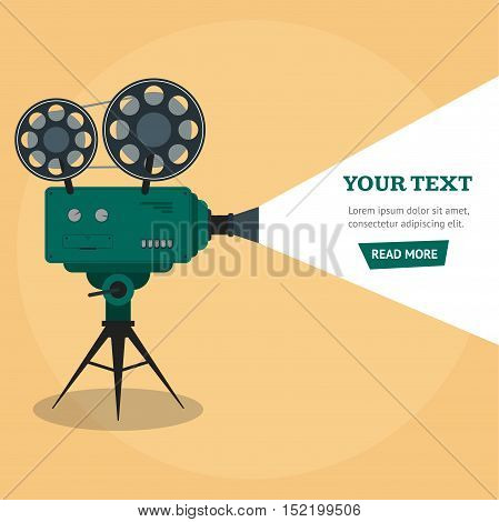 Professional Video Camera Banner. Flat Design Style. Vector illustration